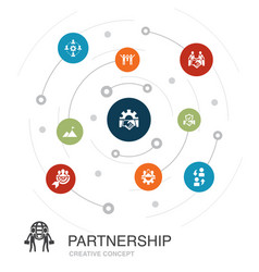 Partnership colored circle concept with simple vector