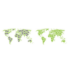 People and flora world map vector