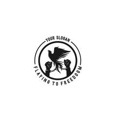 phoenix bird silhouette flaying to freedom vector image