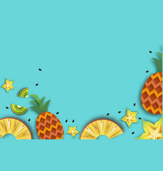 Pineappple carambola kiwi ananas and starfruit vector