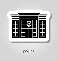 police building black sticker vector image