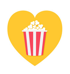 popcorn icon red yellow strip box heart shape i vector image