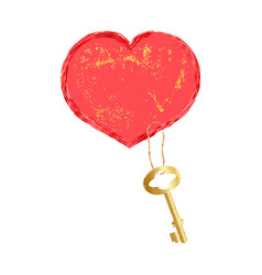 Red heart with a golden key vector