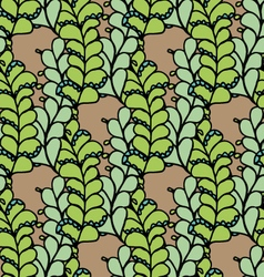 Seamless pattern with green floral elements vector image