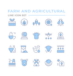 Set color line icons farming and agriculture vector