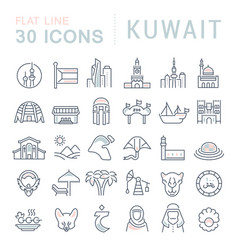 set line icons kuwait vector image