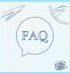 Speech bubble with text faq information line vector