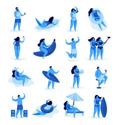 summer vacation characters set vector image
