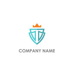 t initial shield crown logo vector image