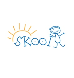 text school and doodle kid vector image