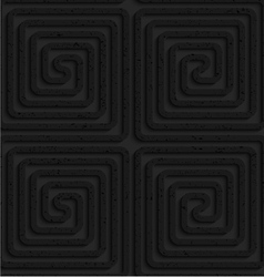 Textured black plastic square spirals reflected vector image vector image