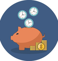 Time is money concept Flat design Icon in blue vector image