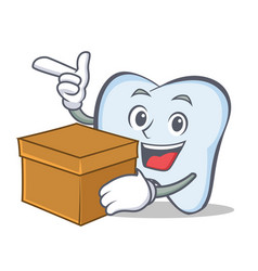 Tooth character cartoon style with box vector