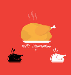 Turkey roasted on plate logo for thanks giving vector