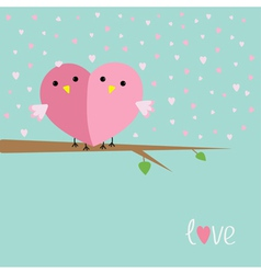 Two birds in shape of half heart sitting on tree vector