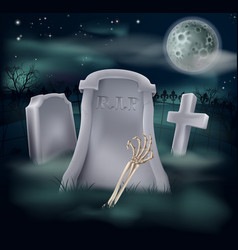 Undead skeleton hand grave vector