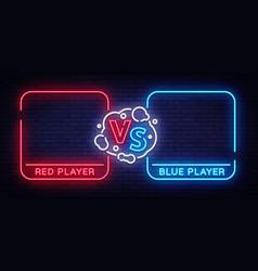 Versus screen design in neon style neon banner vector