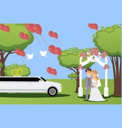 wedding ceremony in summer park happy couple vector image