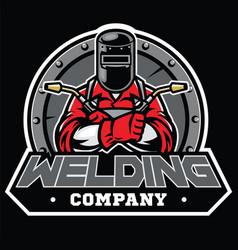 welder wearing welding helmet pose in badge vector image