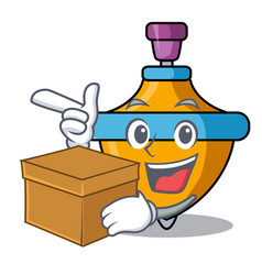 With box spinning top character cartoon vector
