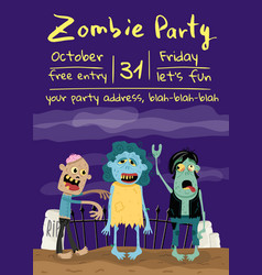 Zombie party poster with monster group in cemetery vector