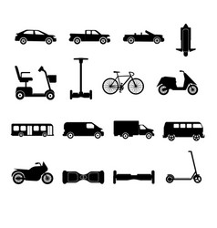 collection of transport icons silhouettes vector image