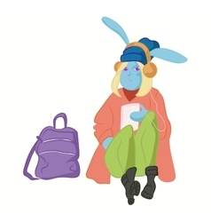 hipster hare in cool fashion clothes vector image