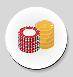 money and chips stack sticker icon flat style vector image vector image