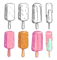 sketch and coloring ice cream collection vector image