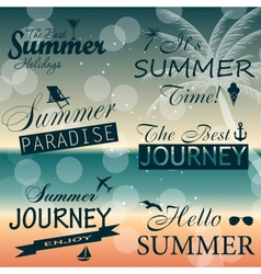 Vintage summer calligraphic elements design labels vector image vector image