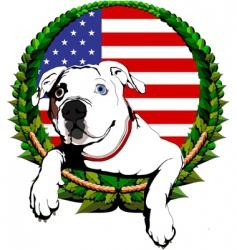 American bulldog with American flag vector image