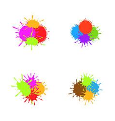 colorful paint splash set vector image