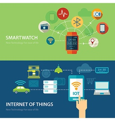 concepts for smart watch and internet of things vector image vector image