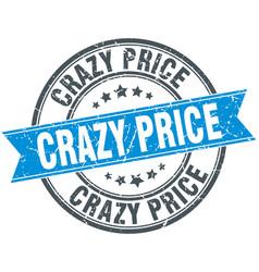 crazy price round grunge ribbon stamp vector image vector image