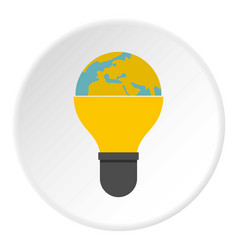 light bulb and planet earth icon circle vector image vector image