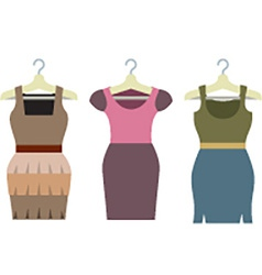 Set Of Women Clothes With Hangers vector image vector image
