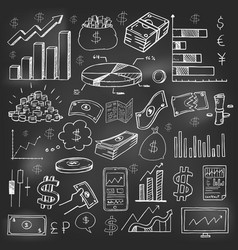 stock market had drawn symbols on blackboard vector image