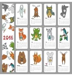 Calendar 2016Wild animals Woodland doodles vector image vector image