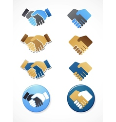 collection of handshake icons and elements vector image