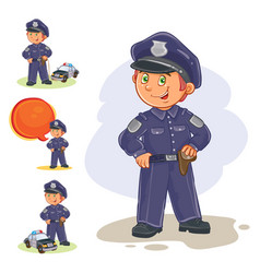 icons of small child policeman and his vector image