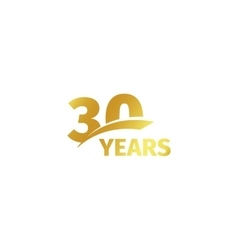 Isolated abstract golden 30th anniversary logo on vector image vector image
