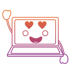 Laptop heart eyes kawaii icon ima vector