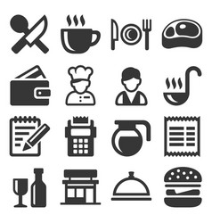 restaurant cooking and kitchen icons set vector image