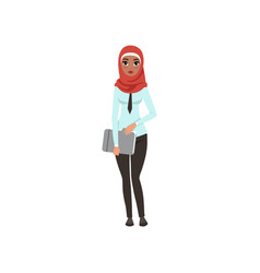 arabic businesswoman character standing with vector image