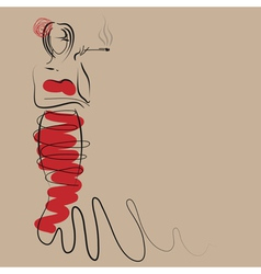 Fashion woman in stylish long red dress vector image vector image