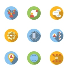 Global network icons set flat style vector image
