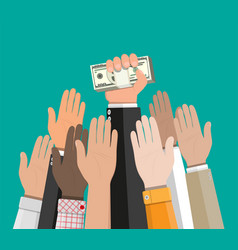 hand holding pile of cash money vector image vector image