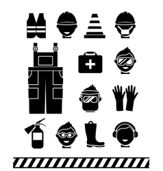 Job safety black icons Personal protective vector image