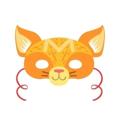 Red Cat Animal Head Mask Kids Carnival Disguise vector image