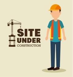 site under construction man work uniform vector image